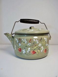 Green Enamelware Vintage Tea Kettle Hand Painted by FolkArtByNancy