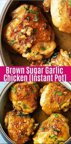 Juicy and fall-off-the-bone chicken thighs with brown sugar garlic sauce, pressu.Juicy and fall-off-the-bone chicken thighs with brown sugar garlic sauce, pressure cooked in an Instant Pot for 8 mins. Instant Pot chicken dinner is so Crockpot Recipes, Cooking Recipes, Healthy Recipes, Dinner Crockpot, Easy Recipes, Soup Recipes, Vegetarian Recipes, Healthy Food, Pan Cooking
