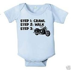 CRAWL WALK MOTORCYCLE HARLEY BABY INFANT BODYSUIT BOY BIKE | KoolKidzClothing - Clothing on ArtFire
