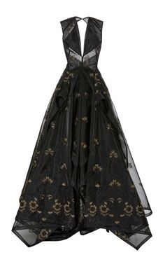 Shop Guipure Lace V neck Gown. This **Zac Posen** gown features a V neckline, embroidered flower details, and a open style back. Lace Evening Gowns, Lace Ball Gowns, Ball Dresses, Long Dresses, Pretty Outfits, Pretty Dresses, Beautiful Outfits, Fantasy Dress, Kpop Fashion Outfits
