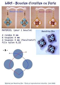 Free Beaded Earrings Pattern by Sandrine featured in recent Bead-Patterns.com Newsletter!