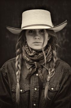 Traditional Ranch wear out West. Cowboy hat, wild rag and braids. Traditional Ranch wear out West. Cowboy hat, wild rag and braids. Cowgirl Mode, Foto Cowgirl, Cowgirl And Horse, Cowboy And Cowgirl, Cowgirl Style, Cowboy Hats, Western Style, Cowboy Hat Hair, Country Western Fashion