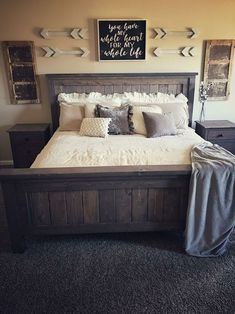 45 Cozy Rustic Bedroom Design Ideas: 45 Modern Rustic Master Bedroom Decor And Design Idea Home Decor Bedroom, Modern Bedroom, Rustic Bedroom Furniture, Rustic Bedroom Design, Diy Bedroom, Rustic Bedding, Farmhouse Furniture, Rustic Bedroom Decorations, Bedroom Apartment