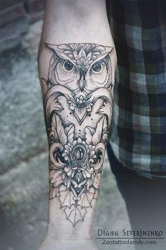 Tatuagens no Antebraço | coruja