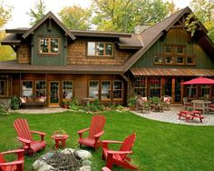 Love the pop of red and color scheme of cabin. This is the setup I'd like for the fire pit at the cabin.
