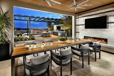 Outdoor rooms are a necessity in coastal homes with consistent warm weather.  (Located in Yorba Linda, CA) Indoor Outdoor Living, Outdoor Living Areas, Outdoor Rooms, Living Spaces, Building Design, Building A House, Backyard Bar, Backyard Kitchen, Backyard Landscaping