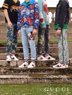 Stars, serpents and arrows are embroidered onto the new collection of men's Gucci Ace sneakers by Alessandro Michele.