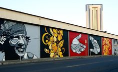 by David Flores with Olivia Bevilacqua floral panels in Honolulu, 2/15 (LP)
