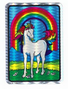 Vintage+80s+Prism+Rainbow+Unicorn+Sticker+by+CollectorsWarehouse,+$2.75