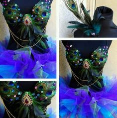Peacock rave bra and blue tutu