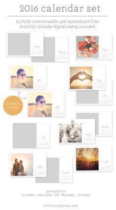 2016 Calendar Set = photo collage templates to make custom calendars + monthly calendar digital stamp  >> also use for digital project life® + pocket scrapbooking layouts ==>> hellotracylarsen.com/shop