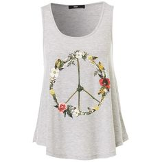 PRINTED SWING TANK ($23) ❤ liked on Polyvore featuring tops, blusas, t-shirts and tank tops