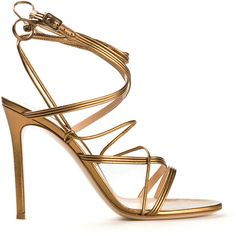 Gianvito Rossi Lace-Up Golden Brown Leather Sandals ($650) ❤ liked on Polyvore featuring shoes, sandals, heels, brown sandals, strappy sandals, strap sandals, strappy heel sandals and heeled sandals