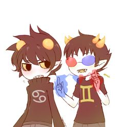 I don't ship but this fanart of Karkat and Sollux is adorable