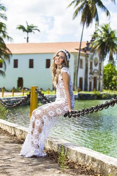 """Photo from album """"Katia Portes"""" on Yandex. Prom Dresses, Formal Dresses, Crochet Fashion, Beautiful Crochet, Tulum, Color Change, Wedding Gowns, Look, Marriage"""