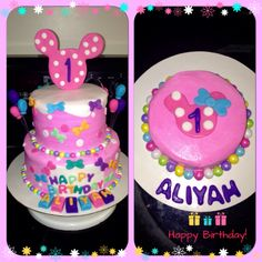Minnie Mouse 1st Birthday Cake and Matching Smash Cake - Minnie's Bow-Tique Theme