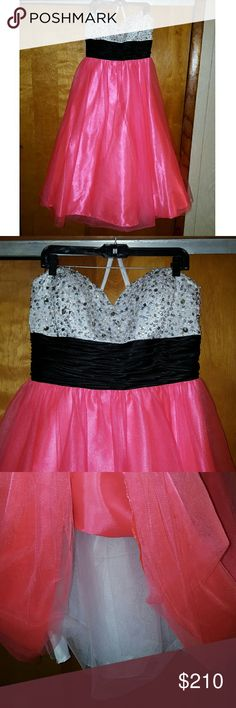 Hot Pink and White Sequin Formal Dress BEAUTIFUL prom/formal dress by Beyond Division of Jovani. Great condition, worn once time!! Perfect for prom, homecoming, other formal dances, special events, and weddings. Hot pink, white, and black waist band, strapless with sequins. Jovani Dresses Prom