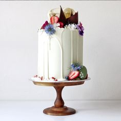 Vanilla cake with lemon curd + coconut buttercream with crushed meringue and freeze dried strawberries from Cakes by Cliff in Sydney, Australia