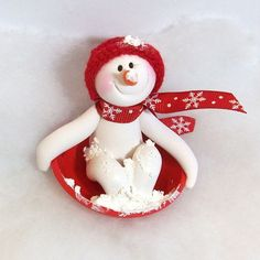 *POLYMER CLAY ~ Red Saucer sledding Snowman ornament