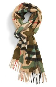 Burberry Camo Print & Giant Check Cashmere Scarf available at #Nordstrom