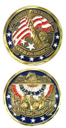 """PROUD MILITARY FAMILY LUCKY COMMEMORATIVE 2/"""" CHALLENGE COIN BOY SCOUTS"""