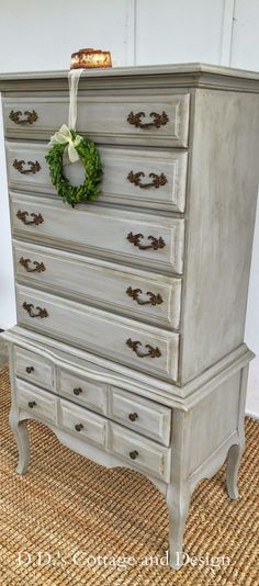 D.D.'s Cottage and Design: Grey French Provincial Chest on Chest #paintedfurniturefrench