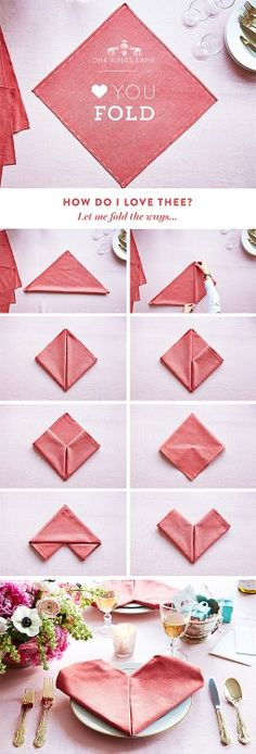 DIY how to Fold a Heart Shaped Napkin from One Kings Lane. Learn...