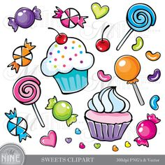 SWEETS Clipart Illustrations Digital Clip Art Vector Art File, Instant Download, Cupcakes Candy Graphics