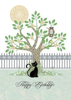 Black Cat with Owl Birthday Card