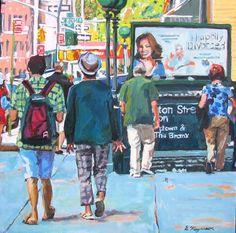 Framed Original Cityscape Painting. SoHo Subway Station, New York City NYC aqua blue green Urban Fine Art. Gwen Meyerson. $900.00, via Etsy.