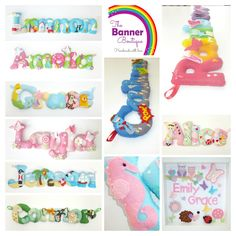 Personalised felt name banners / chains / garlands by The Banner Boutique.  Any name in any theme.