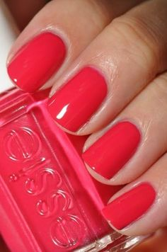 My favorite polish color of all time! Perfect mix of pink an… Essie – Watermelon. My favorite polish color of all time! Perfect mix of pink and coral! Red Nails, Love Nails, How To Do Nails, Pretty Nails, Hair And Nails, Coral Nails, Spring Nails, Summer Nails, Nail Colors For Summer