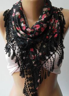 Elegance  Shawl / Scarf with Lacy Edge by womann on Etsy, $19.00