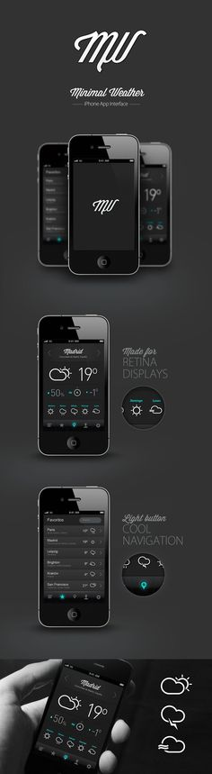 via http://www.awwwards.com: 30 Recent Inspirational UI Examples in Mobile Device Screens Minimal Weather by Pablo Chavida