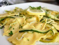 Ravioli 4 quesos con calabacín al limón, Receta Petitchef Ravioli, Crepes, Zucchini, Vegetarian Recipes, Recipies, Food And Drink, Chicken, Vegetables, Cooking