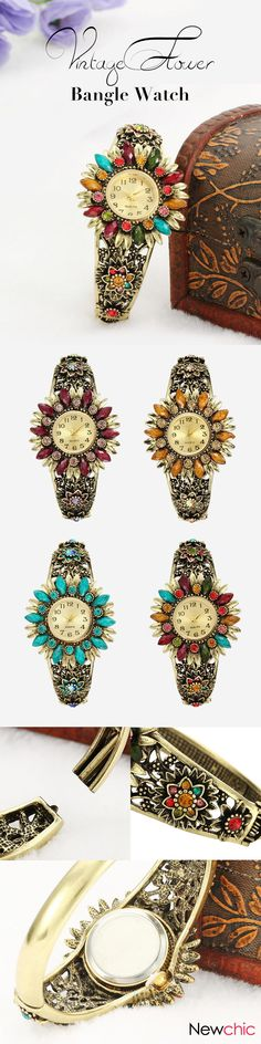 [Newchic Online Shopping] 45%OFF Women's Vintage Flower Bangle Watch