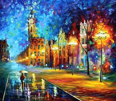 "Original Recreation Oil Painting on Canvas This is the best possible quality of recreation made by Leonid Afremov in person.  Title: Old Town Size: 36"" x 30"" Condition: Excellent Brand new Gallery Estimated Value: $6,000 Type: Original Recreation Oil Painting on Canvas by Palette Knife  ..."