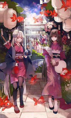 Garotas Animes Fofas-Andando-Peixes