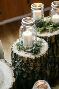 Mason jar candles & greenery