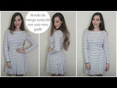 Vestido com saia meio godê e manga comprida   Modelagem e costura   #VEDA12…