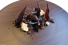 Beautifully presented Chocolate and cocoa with hazelnuts, coffee and vanilla. ABaC chef, Jordi Cruz. Barcelona, Catalonia via Who took our cheese puffs away?