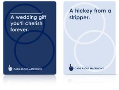 Not really a wedding suggestion, but for a wedding-related party! Like cards against humanity but wedding themed.