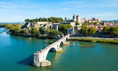Pont Saint Benezet bridge and Rhone river aerial panoramic view in Avignon. Avignon is a city on the Rhone river in southern France. 7 Places, Places In Europe, Avalon Waterways, Van Gogh Landscapes, Cruise Pictures, Best Sites, World Heritage Sites, Provence, In This Moment