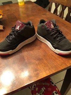 14c5cfcd2974 Kids Girls Nike Air Jordan Flight Origin 3 Black Pink Grey Shoes. Size