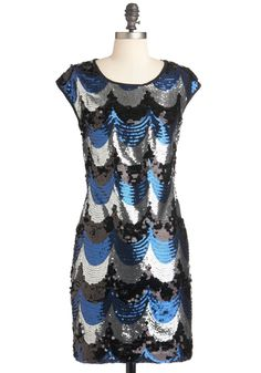Seaside Celebration Dress - Multi, Blue, Black, Silver, Backless, Sequins, Party, Sheath / Shift, Cap Sleeves, Fall, Girls Night Out, Mid-length