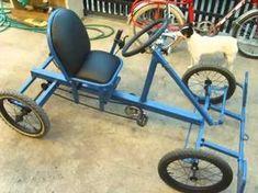 Cyclekart (Monocar) chassis complete video of details Cycle Kart, Go Kart Steering, 4 Wheel Bicycle, Vespa Vintage, Electric Bike Kits, Electric Cars, Homemade Go Kart, Bike Cart, Diy Go Kart