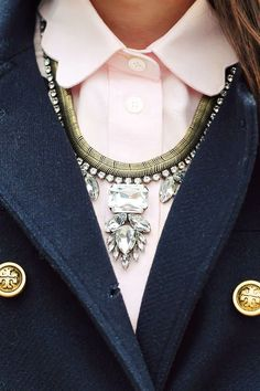 Button Up Shirt with Statement Necklace