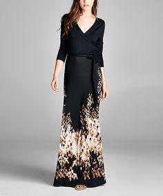 On Trend Black & Brown Surplice Maxi Dress   zulily