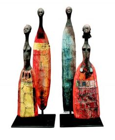 Risultati immagini per etiye poulsen Human Sculpture, Sculptures Céramiques, Art Sculpture, Small Sculptures, Ceramic Figures, Ceramic Art, African Art Projects, Paper Clay Art, Art Pierre