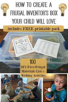 Create a fun & frugal inventor's box for your kids.  Spark creative activity & watch their imaginations soar.  Includes FREE printable pack to help you get started.